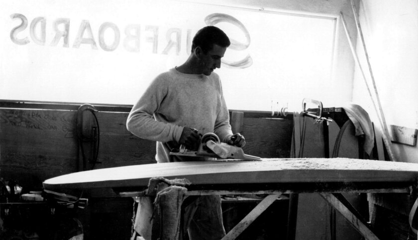 1960: Larry Gordon shapes a balsa wood surfboard. Gordon & Smith was founded in 1959 and, at one point, was the largest surfboard manufacturer in the world. Courtesy photo
