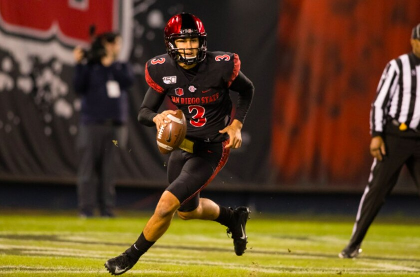 San Diego State quarterback Carson Baker earned starting role coming into 2020 season, but was replaced in midseason.