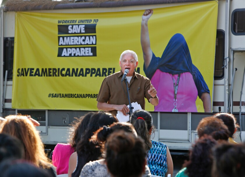 LOS ANGELES, CA. - MARCH 21, 2014: Organizer Nativo Lopez speaks as factory workers from American Ap