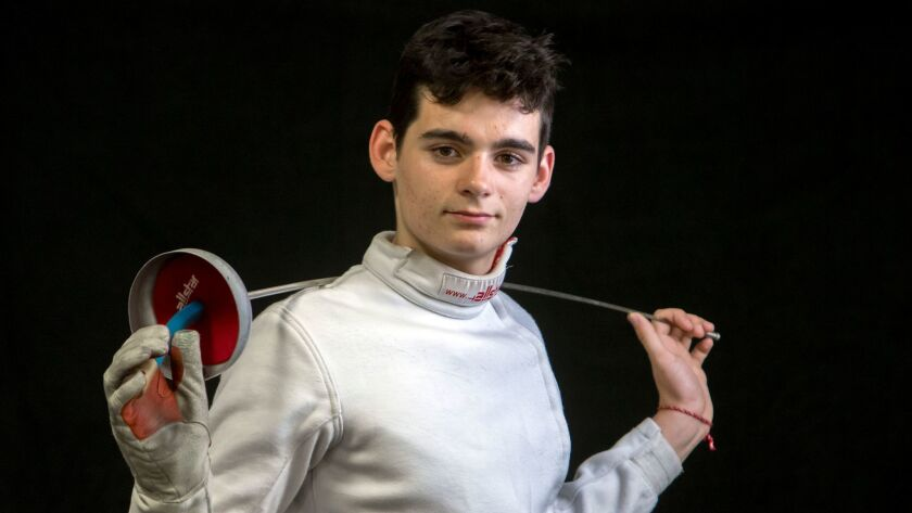 Rancho Bernardo junior Diego Calderon is the Southern California Scholastic League champion in epee, which is his weapon of choice in fencing competition.