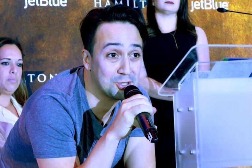 El dramaturgo, actor y cantante de origen puertorriqueño Lin-Manuel Miranda habla durante una rueda de prensa en San Juan (Puerto Rico). EFE/Archivo