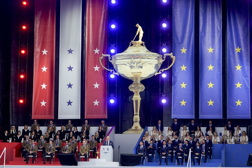 Team USA and Team Europe attend the opening ceremony for the Ryder Cup at the Whistling Straits Golf Course Thursday, Sept. 23, 2021, in Sheboygan, Wis. (AP Photo/Jeff Roberson)