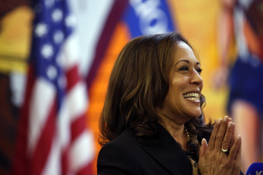 California Attorney General Kamala Harris addresses union members and constituents at the UFCW Local 770 headquarters while campaigning on May 12, 2016.