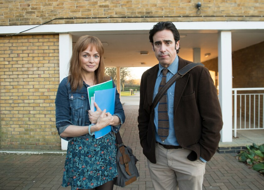 "Kim (Heather Graham) is just one of Andrew's (Stephen Mangan) partners on the series ""Bliss."""