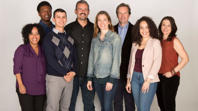 The cast of the world premiere of The Blameless with playright Nick Gandiello and director by Gaye Taylor Upchurch (center), running February 23 - March 26, 2017 at The Old Globe. Photo by Jim Cox.