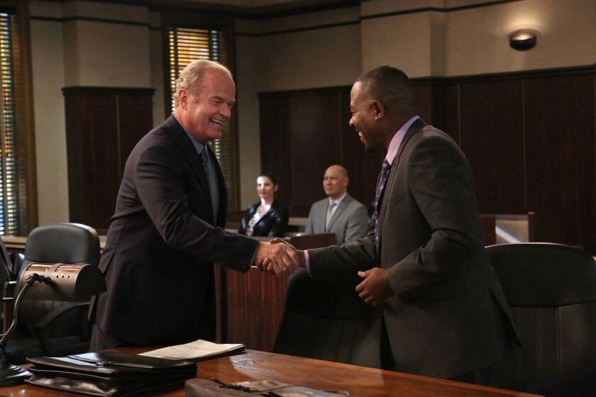 """Kelsey Grammer as Allen Braddock and Martin Lawrence as Marcus Jackson in """"Partners."""""""