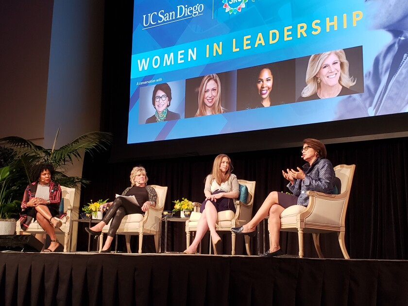 Women in Leadership panelists Jedidah Isler, moderator Lynn Sherr, Chelsea Clinton and Sylvia Acevedo