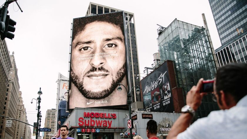 Nike campaign featuring Colin Kaepernick ad in New York, USA - 07 Sep 2018