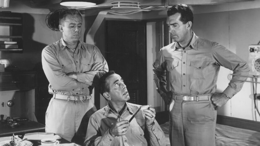 "Van Johnson, Humphrey Bogart and Fred MacMurray  in ""The Caine Mutiny."""