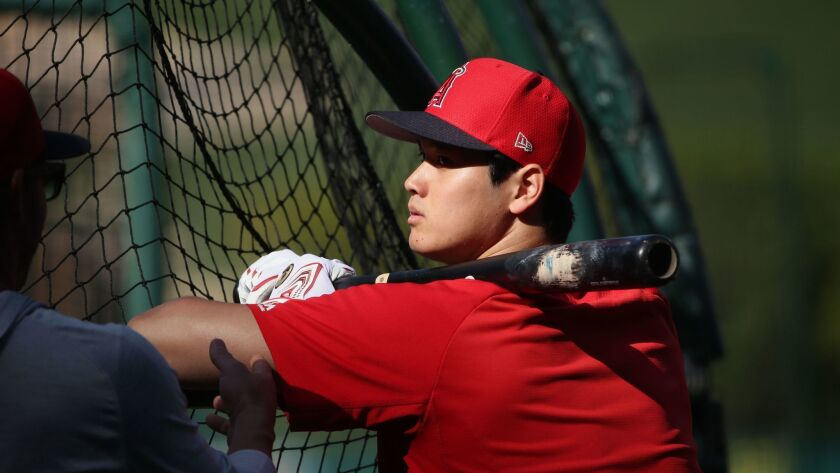 Shohei Ohtani of the Angels took batting practice on the field with his teammates for a second day in a row.