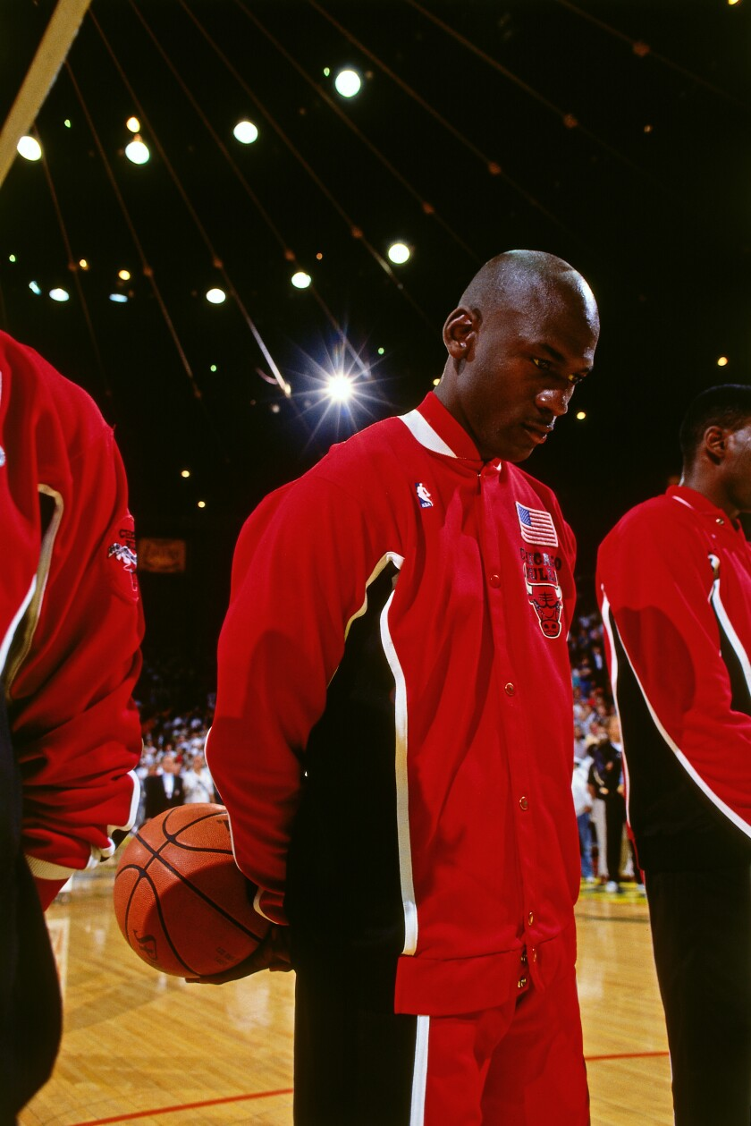 """Michael Jordan stands for the National Anthem during the 1991 NBA Finals, as featured in the documentary """"The Last Dance."""""""