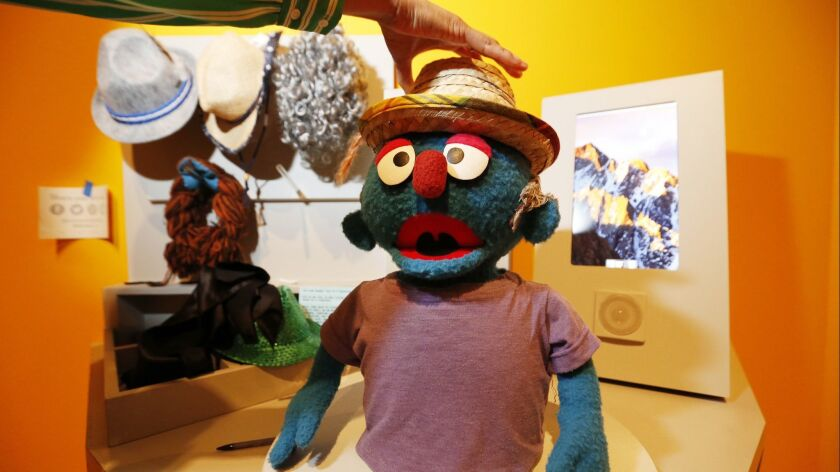 LOS ANGELES, CA – May 29, 2018: Interactive exhibit encouraging people to build their own puppet o