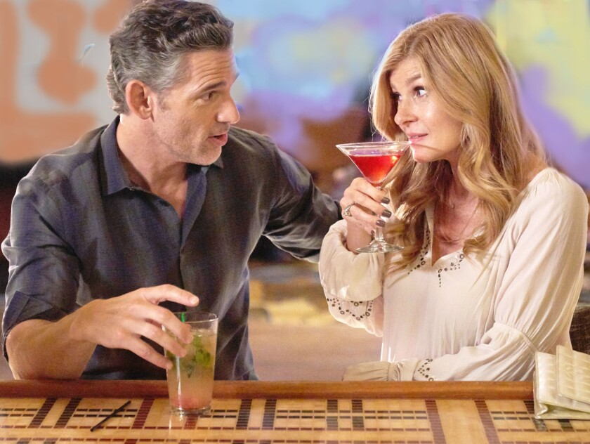 "Eric Bana, left, plays John Meehan and Connie Britton portrays Debra Newell in ""Dirty John,"" premiering Sunday on Bravo."