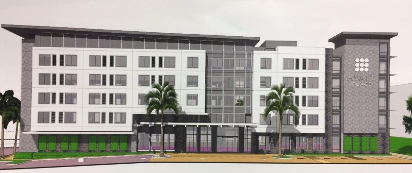 A rendering for the proposed Hyatt Place Hotel, as seen from the east.