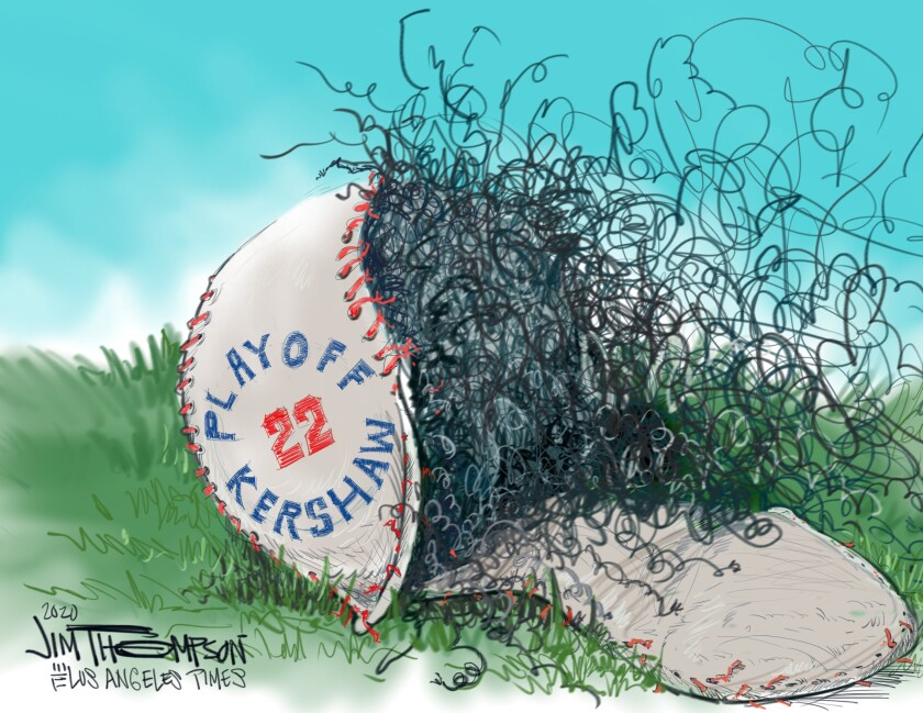 Cartoon on Clayton Kershaw and the Dodgers