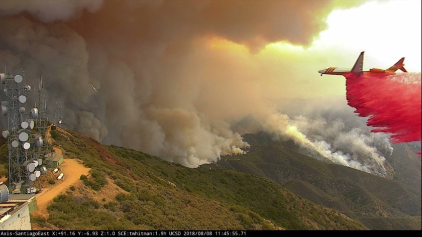 An ALERTWildfire camera capture on top of Santiago Peak in Orange County, Calif., to inform fire officials with views of the Holy Fire in August 2018.