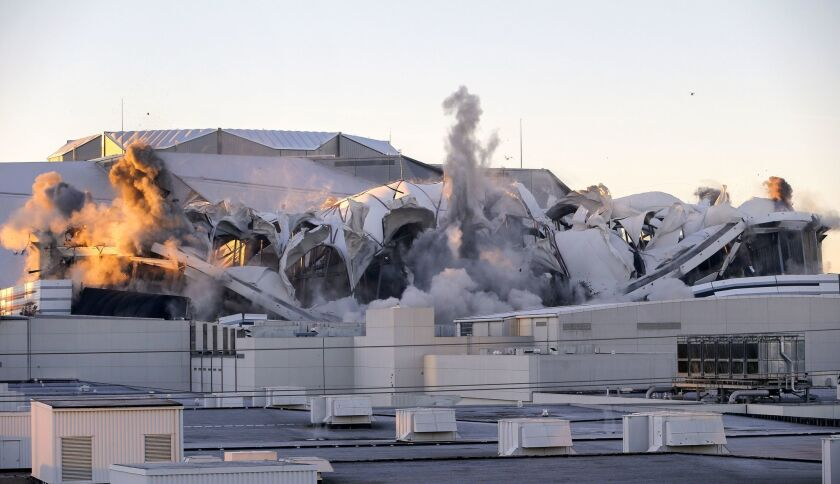 The Georgia Dome stadium is imploded in Atlanta on Nov. 20.