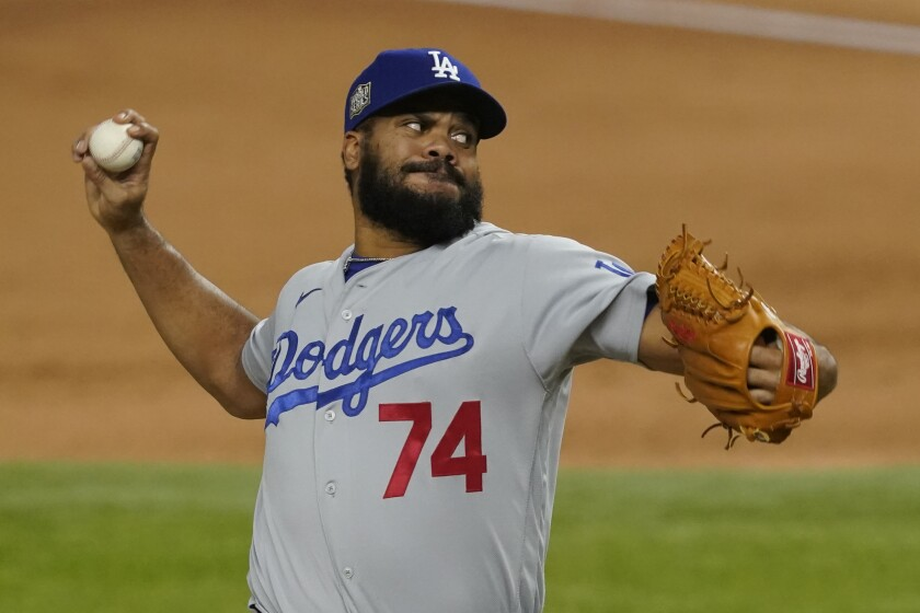 Dodgers reliever Kenley Jansen pitches against the Tampa Bay Rays.