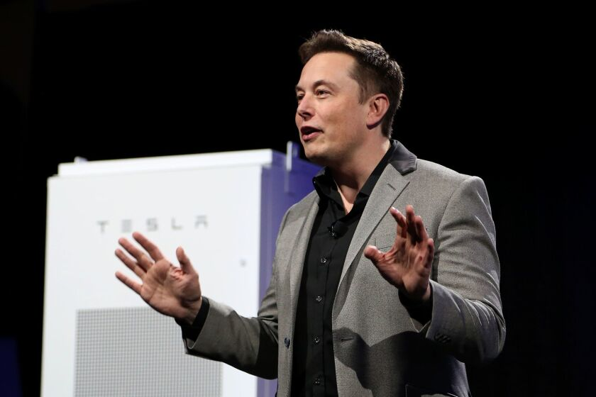 Tesla Chief Executive Elon Musk unveils large utility-scale batteries in 2015.