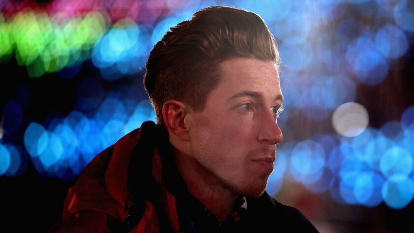 Shaun White looks on during the opening ceremony of the 2018 Winter Olympic Games in Pyeongchang, South Korea.