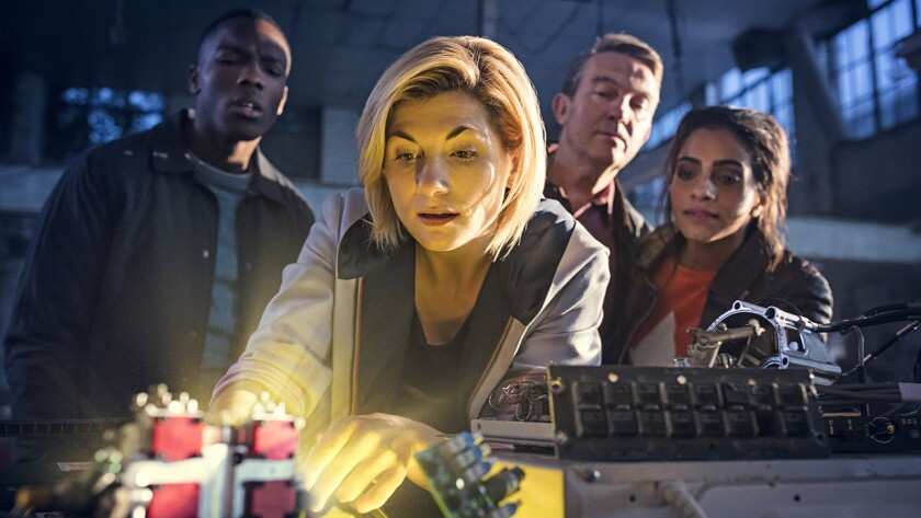 """Jodie Whittaker, center, is featured in """"Doctor Who: A Conversation With Jodie Whittaker"""" on BBC America. With Tosin Cole, left, Bradley Walsh and Mandip Gill."""