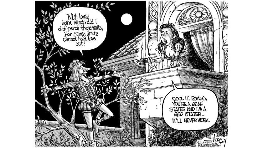 """An earlier take on the political leanings of Romeo and Juliet from David Horsey's 2007 book, """"Draw Q"""