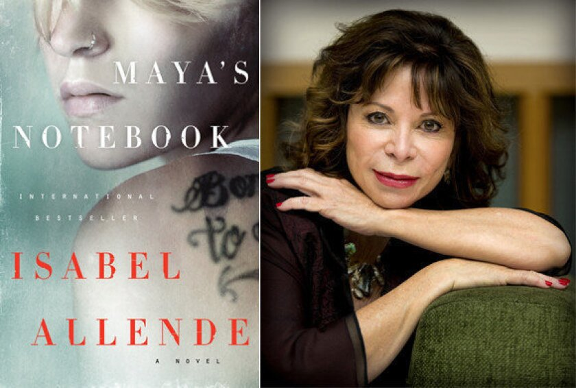"""The cover of """"Maya's Notebook"""" and author Isabel Allende."""
