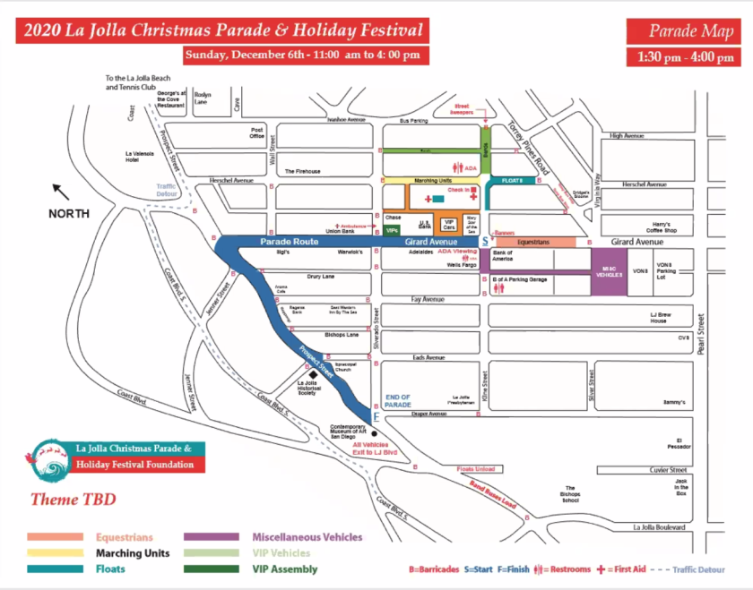 This is the planned route for the La Jolla Christmas Parade, scheduled for Dec. 6.