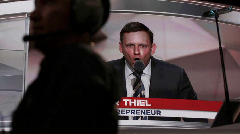 Libertarian billionaire Peter Thiel speaking on behalf of Donald Trump at the Republican National Convention in July