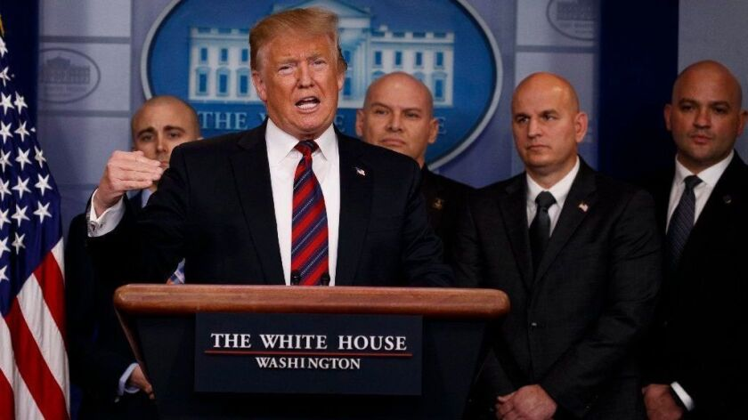 President Trump speaks to reporters about border security in the briefing room of the White House on Jan. 3.