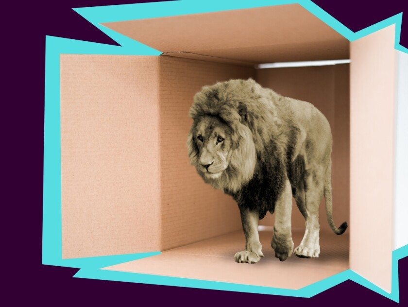 photo illustration of a lion stepping out of a cardboard box