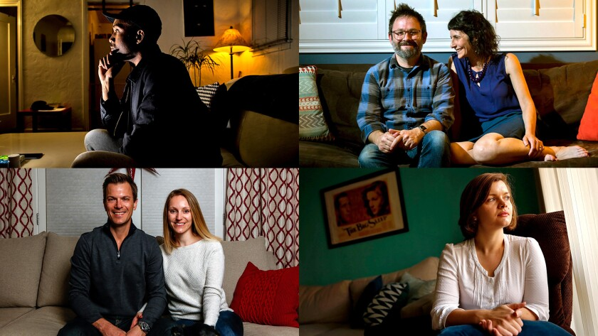 Clockwise, from top left: Dontrelle Nettles; Matthew Pratt and Maya Bader; Elizabeth Floyd; and David Amejka and Anett Seifert.