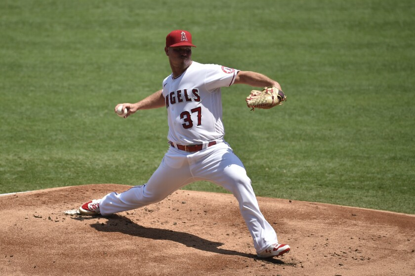 Angels starting pitcher Dylan Bundy delivers against the San Francisco Giants on Tuesday.