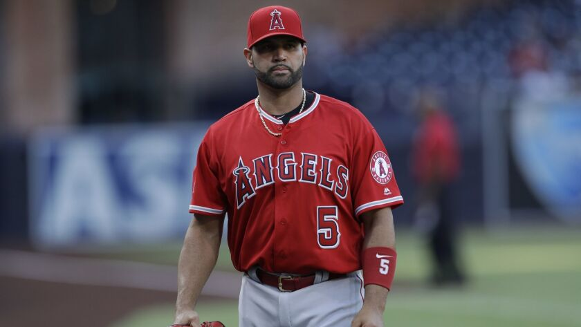 Los Angeles Angels first baseman Albert Pujols looks on before a baseball game against the San Diego