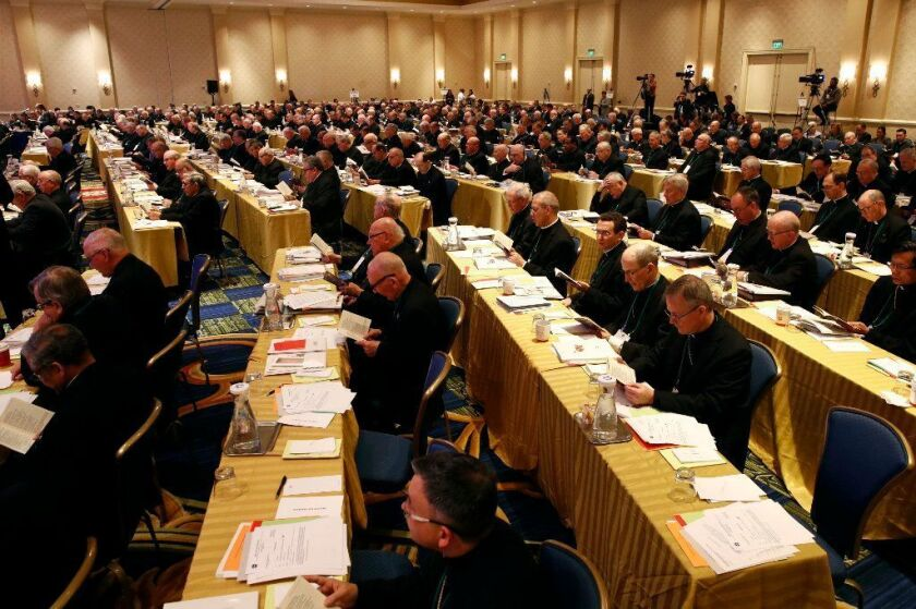 Members of the United States Conference of Catholic Bishops gather at the USCCB's annual fall meeting, Tuesday, Nov. 13, 2018, in Baltimore.