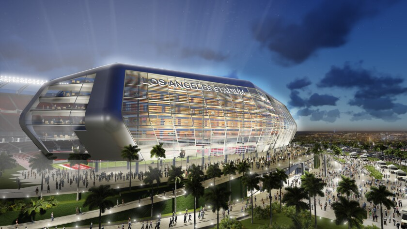 A rendering of the new football stadium proposed for Carson by the owners of the San Diego Chargers and Oakland Raiders.
