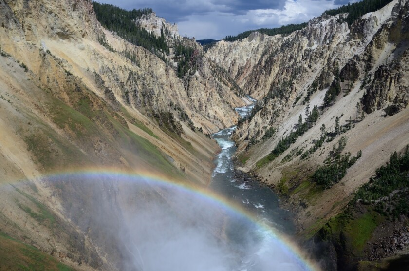 The Grand Canyon of the Yellowstone River as seen from the Brink of the Lower Falls in Yellowstone National Park.