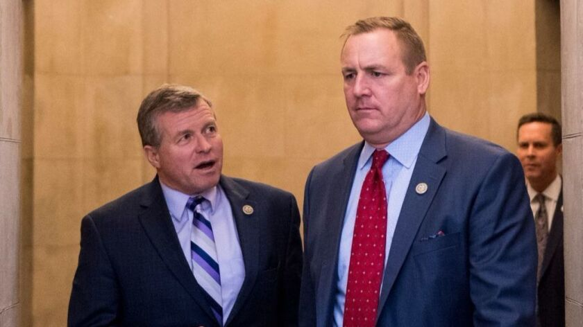 Republican Reps. Jeff Denham, right, of Turlock and Charlie Dent of Pennsylvania at the Capitol on Thursday.