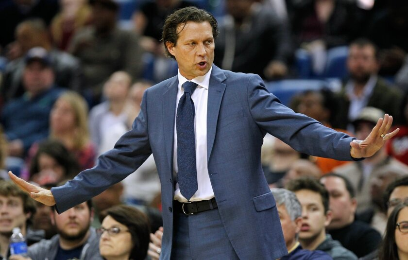 Utah Jazz coach Quin Snyder gestures during the second half of the team's NBA basketball game against the New Orleans Pelicans in New Orleans, Wednesday, Feb. 10, 2016. The Pelicans won 100-96. (AP Photo/Tyler Kaufman)