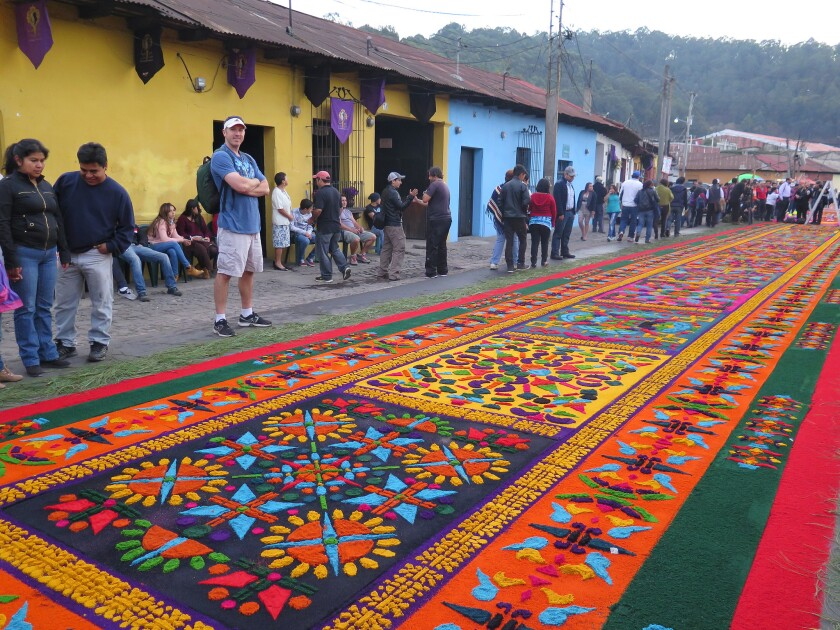 "Intricate flower and seed ""carpets"" are created during Holy Week in Antigua, Guatemala."
