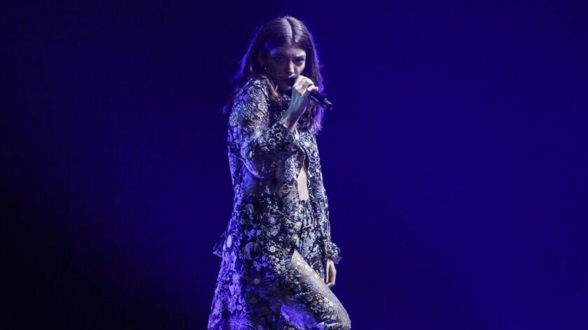 Lorde performs Wednesday night at Staples Center.