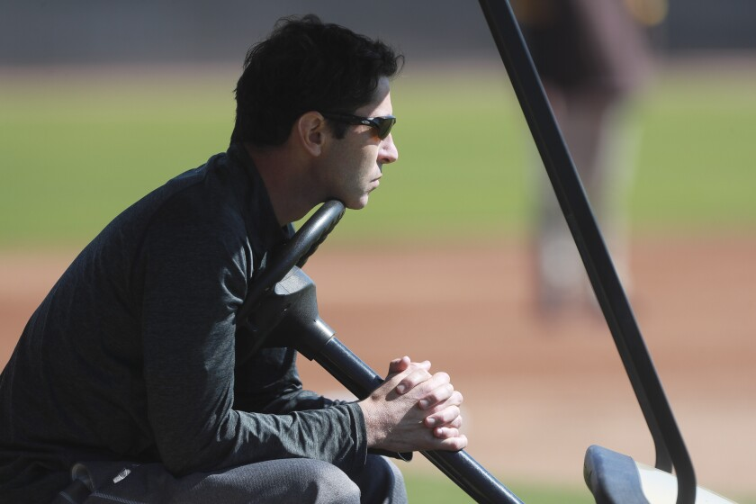 Padres General Manager A.J. Preller spring training in February.