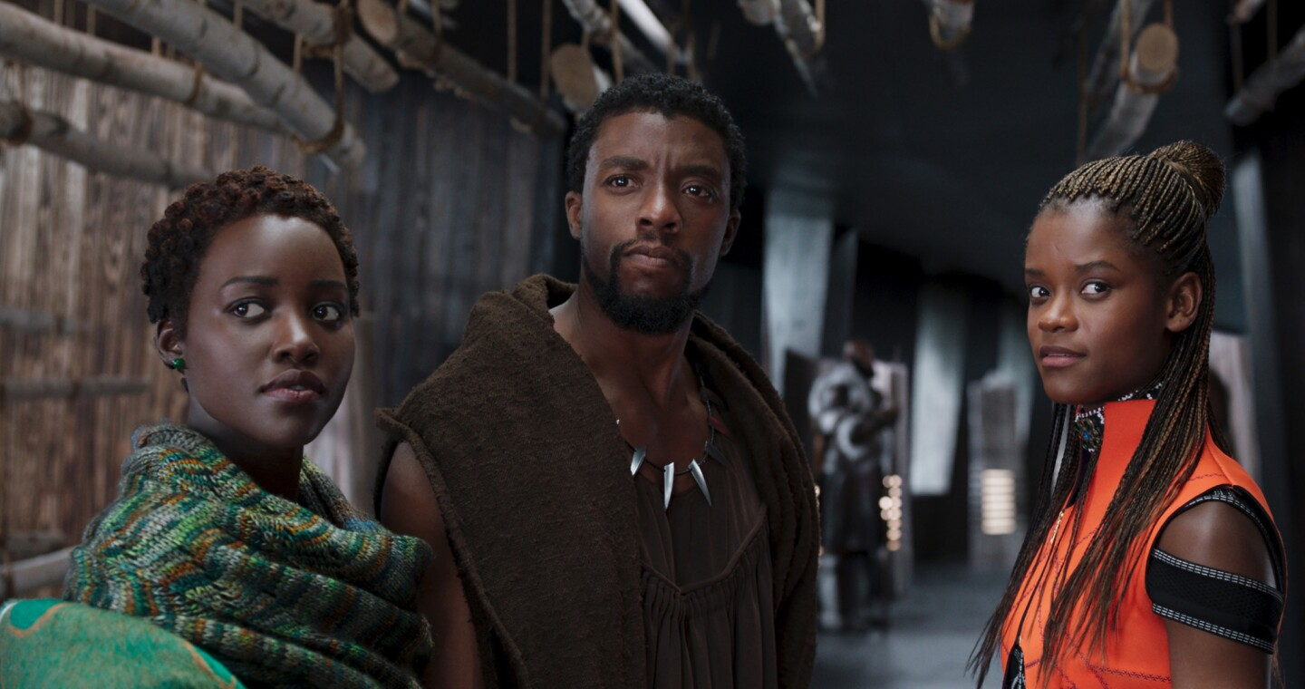 """Lupita Nyong'o as Nakia, from left, Chadwick Boseman as T'Challa and Letitia Wright as Shuri in """"Black Panther."""""""