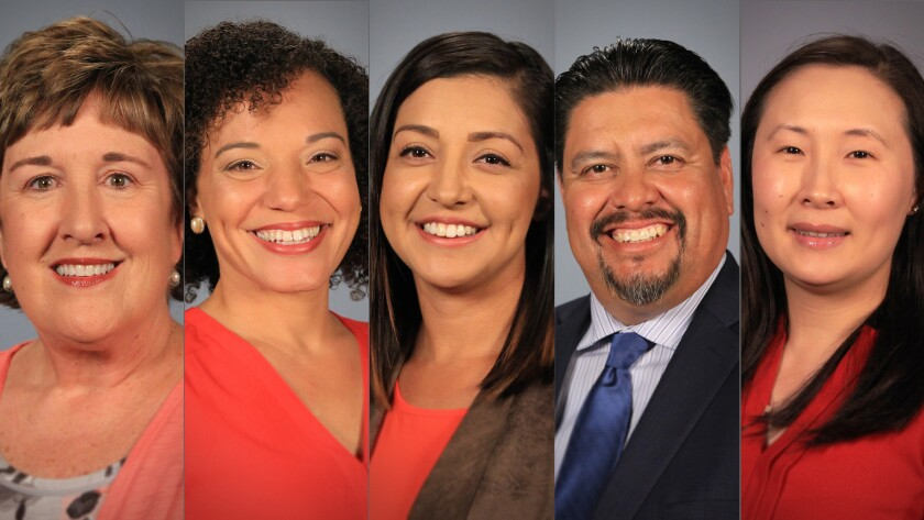 Teachers of the year: Stephanie Glanz, Rose Elementary; Sesha Haynes, Sweetwater High; Melissa Moreno, Rosebank Elementary; Jose Villegas, Nestor Language Academy Charter; Katie Wu, Westview High.