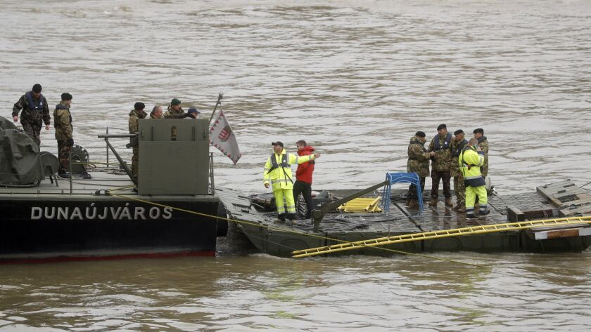 A Hungarian military ship at the search for survivors on the River Danube in Budapest, Hungary, on Thursday.
