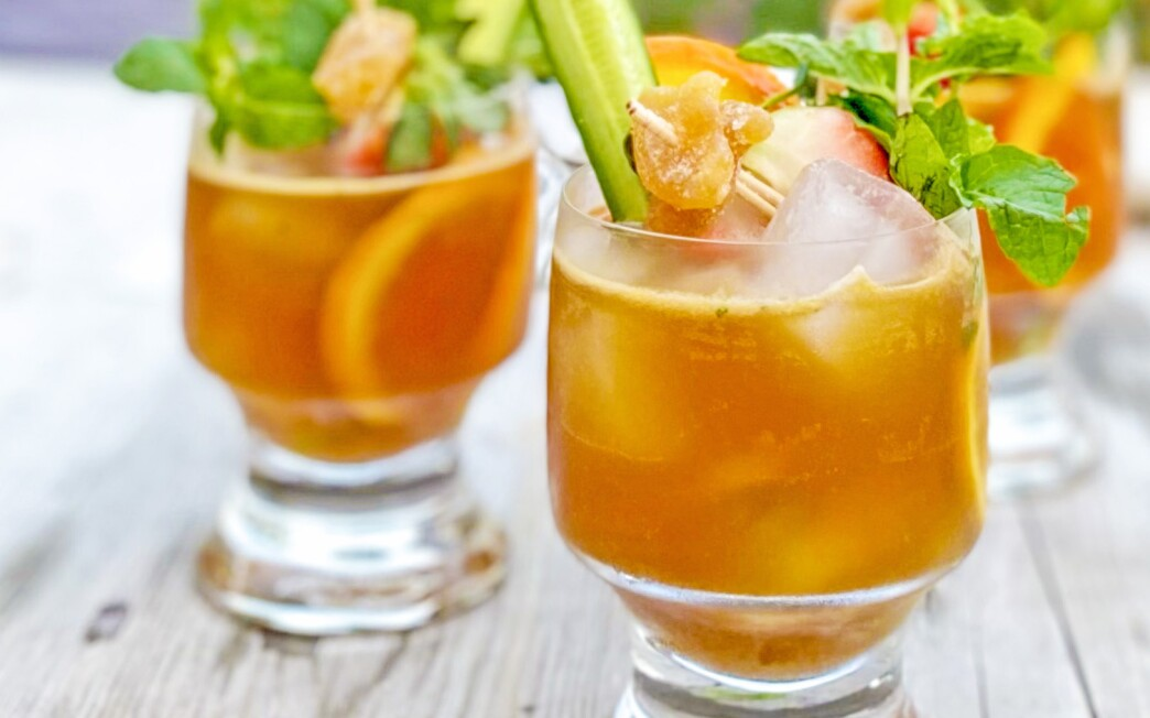 The California Winter Pimm's Cup, with a variety of garnishes.