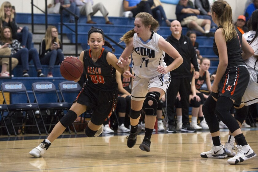 Huntington Beach's Meghan McIntyre dribbles past Corona del Mar's Tori Gyselaar and scores two points during a Surf League game on Jan. 29.