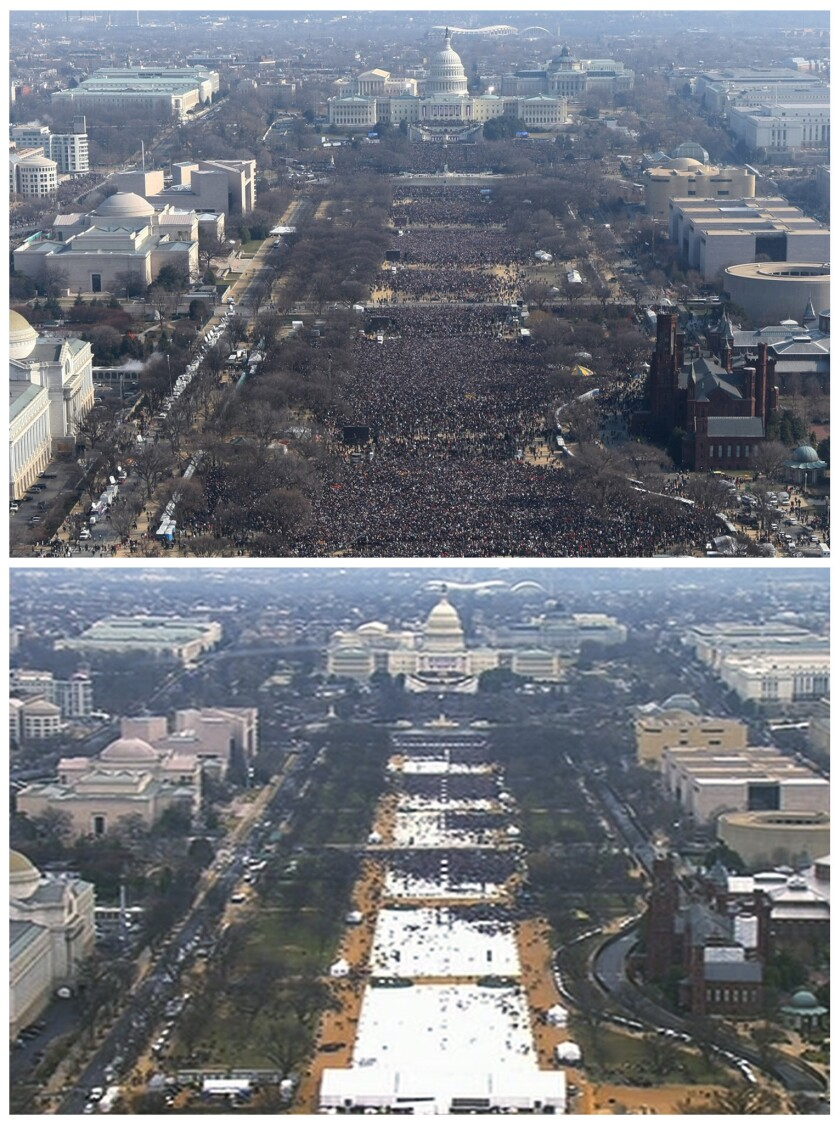 This pair of photos shows a view of the crowd on the National Mall at the inaugurations of President