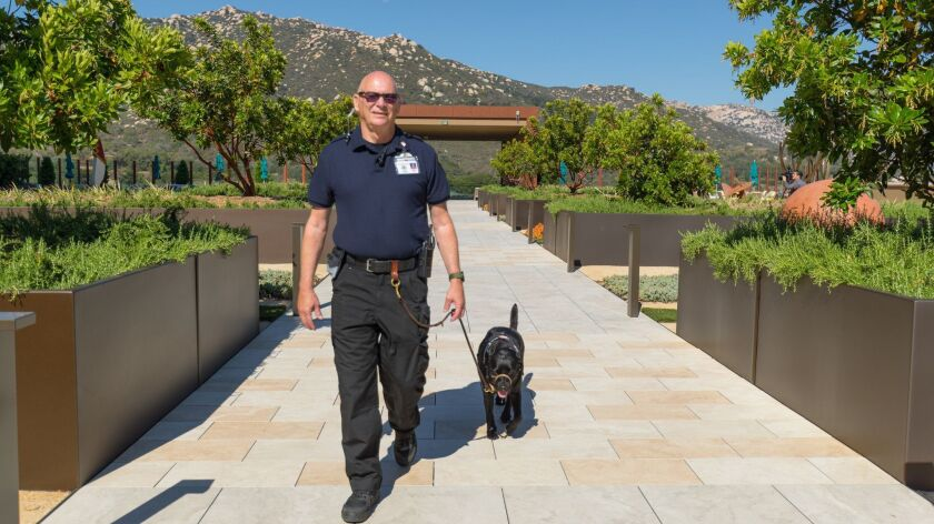 John Tipton of Vista and his service dog Daisy do their rounds at Pechanga Resort & Casino in Temecula. The 22-year Marine Corps veteran and his dog are the first of 10 veteran-canine security times the casino plans to hire.