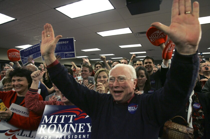 The Rev. Louis Sheldon cheers at a Mitt Romney campaign stop in Las Vegas in 2008